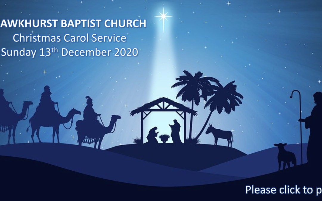 Christmas Carol Service for Sunday 13th December 2020